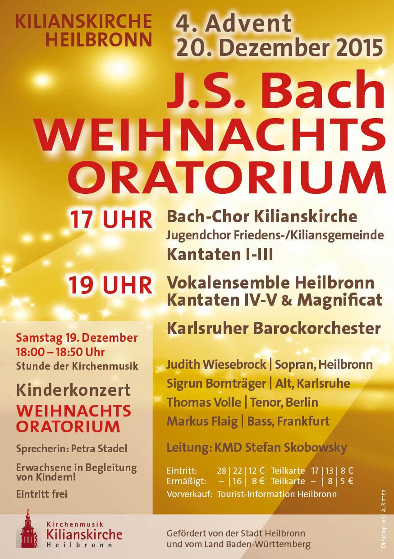 Samstag, 19. Dezember 2015, 18:00 - 18:50 Uhr: Stunde der Kirchenmusik für Kinder (936): J. S. Bach: Weihnachtsoratorium für KINDER in der Kilianskirche